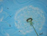 Dandelion Paintings - Attack on the Garden by Kerri Ertman