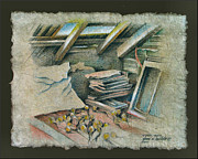 Garlic Pastels Framed Prints - Attic in Muros 1982 Framed Print by Glenn Bautista