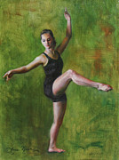 Dancer Paintings - Attitude in Green by Anna Bain