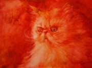 Persian Cat Paintings - Attitude by MaryAnn Cleary