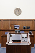 Trial Framed Prints - Attorney Podium Facing Judges Seat Framed Print by Jeremy Woodhouse