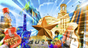 Ut Prints - ATX Montage Print by Andrew Nourse