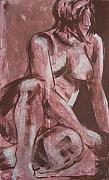 Nude Drawings - Aubergine Female Nude by Joanne Claxton