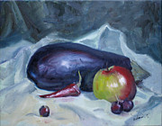 Chillies Prints - Aubergine Print by Mohamed Hirji