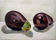 Food  Paintings - Aubergines by Sarah Lynch