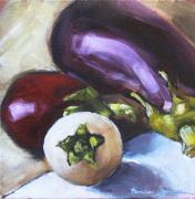 Vegetables Paintings - Aubergines Various by Tanya Jansen