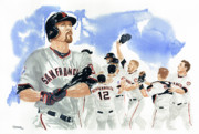 Mlb Painting Posters - Aubrey Huff Study 1 Poster by George  Brooks