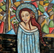 Christian Art . Devotional Art Painting Prints - Aubrey Print by Rain Ririn