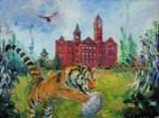 Toomers Corner Paintings - Auburn Football Winning Year by Ann Bailey