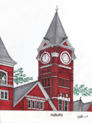 Auburn University Pen And Ink Buildings Drawings Posters - Auburn Poster by Frederic Kohli