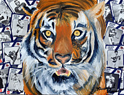 Sec Mixed Media Framed Prints - Auburn Tiger  Framed Print by Michael Lee