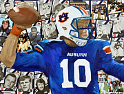 Sec Mixed Media Framed Prints - Auburn Tigers Quarterback #10 Framed Print by Michael Lee