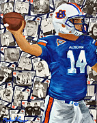 Sec Mixed Media Framed Prints - Auburn Tigers Quarterback #14 Framed Print by Michael Lee