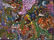 Ayahuasca Art Paintings - Auca Yachai by Pablo Amaringo