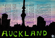 Urban Buildings Drawings Framed Prints - Auckland New Zealand Skyline Framed Print by Jera Sky