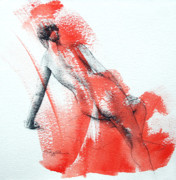 Nudes Drawings Originals - Audacious Dinner by Peggi Habets