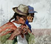 Peru Paintings - Audean Couple by Oscar Cuadros