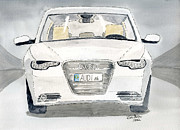 Vehicle Drawings Posters - Audi A6 Poster by Eva Ason