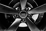 Rcnaturephotos Photos - Audi Wheel  monochrome by Rachel Cohen