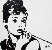 Pop Portrait Painting Originals - Audrey by Christine Luksis