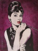 Breakfast Drawings Prints - Audrey Hepburn - Breakfast Print by Eric Dee