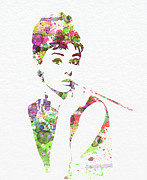 Watercolor Metal Prints - Audrey Hepburn 2 Metal Print by Irina  March