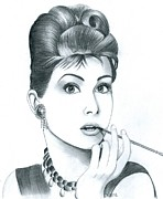 Tiffany Drawings - Audrey Hepburn by Crystal Rosene