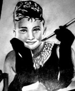 Tiffany Drawings - Audrey Hepburn by Pauline Murphy