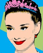 Earring Framed Prints - Audrey Hepburn Pop Art Blue Green Framed Print by Bao Studio