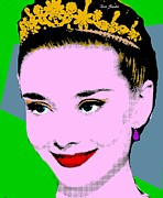 Tiara Paintings - Audrey Hepburn Pop Art Green Steel Blue by Bao Studio