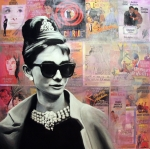 Holiday Painting Metal Prints - Audrey Hepburn Metal Print by Ryan Jones