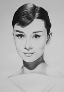 Charcoal Portrait Posters - Audrey Hepburn Poster by Steve Hunter