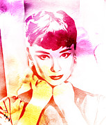 Actress Mixed Media Metal Prints - Audrey Hepburn Metal Print by The DigArtisT