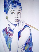 60s Paintings - Audrey  Hepburn by Yulia Hobriy