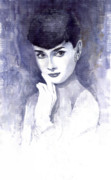 Actors Painting Framed Prints - Audrey Hepburn  Framed Print by Yuriy  Shevchuk