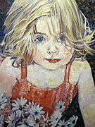 Toddler Portrait Paintings - Audrey in red with flowers by Pamela A Fox