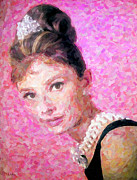 Classic Film Star Mixed Media Prints - Audrey Print by Jeff Adkins