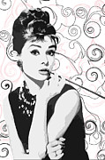 Audrey Posters - Audrey With A Twist Poster by Stephanie Tso
