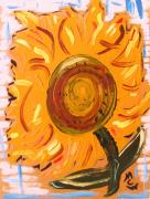 Jazzy Drawings - August 7 Late Day Sunflower by Mary Carol Williams