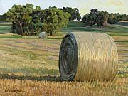 Hay Bales Paintings - August Bales by Bruce Morrison