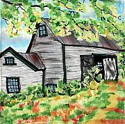 Old Tapestries - Textiles Metal Prints - August Barn Metal Print by Linda Marcille