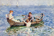 Dinghy Framed Prints - August Blue Framed Print by Henry Scott Tuke