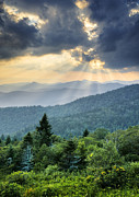 Sun Beams Posters - August Rays - Blue Ridge Parkway Sun Beams Poster by Dave Allen