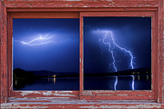 Picture Window Frame Photos Art - August Storm Red Barn Picture Window Frame Photo Art View by James BO  Insogna