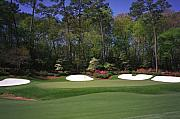 Golf Photos Posters - Augusta National Golf Club Hole 13 Azalea Poster by Phil Reich