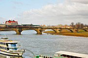 Architectural Design Prints - Augustus Bridge Dresden Germany Print by Christine Till