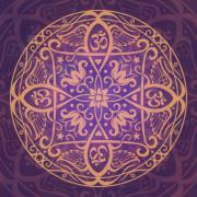 Purple Decorative Art Art - Aum Awakening Mandala by Cristina McAllister
