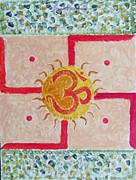 Sacred-symbol Paintings - AUM Swastik  by Sonali Gangane