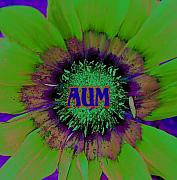 Green Chakra Prints - Aum Print by Vijay Sharon Govender