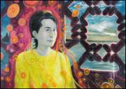 Aung San Suu Kyi Print by A Coudry